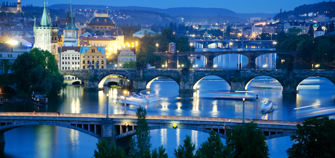 Bridges of Vltava Viver at Twilight