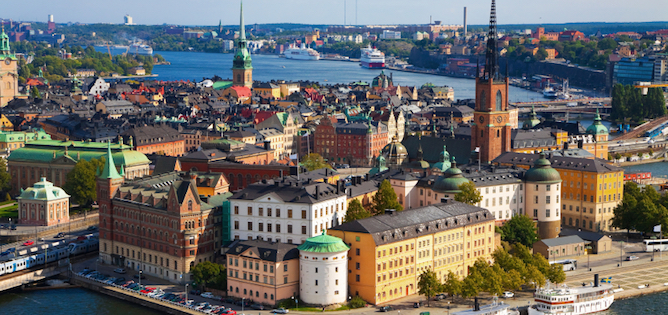 Panorama of the Old Town in Stockholm